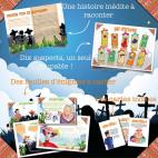 Eléments à imprimer pour l'Enquête Policière pour enfants Panique chez les Squelettes
